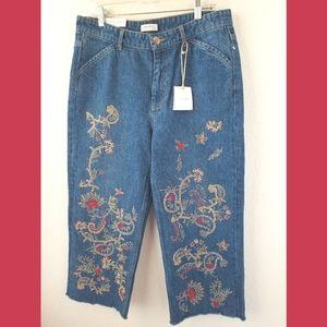 Zara Woman NWT Denim Embroidered Culottes Large